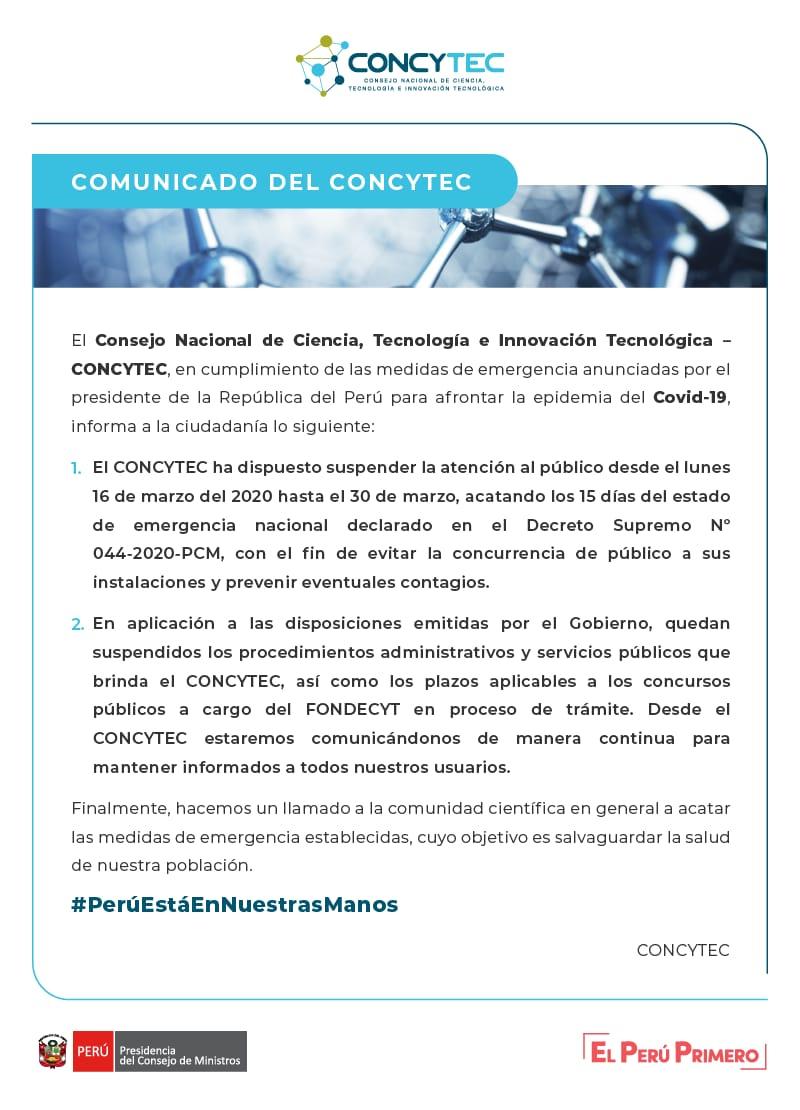 Comunicado Concytec Coronavirus 2020