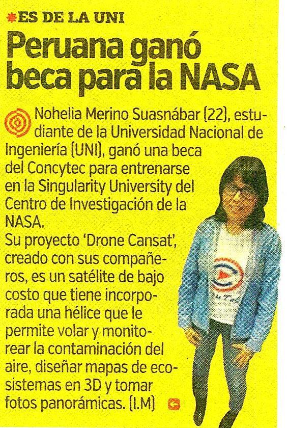 Peruana Ganó Beca Para La Nasa Diario El Trome 09062016